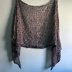 Sheer Pink Grey Leopard Print Gauze Scarf
